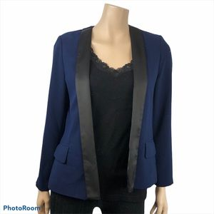Nygard Women's Back Slit Tuxedo Jacket Satin Lapel